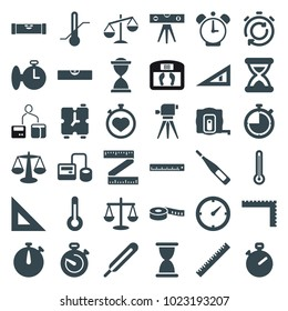 Measurement icons. set of 36 editable filled measurement icons such as ruler, measure tape, level ruler, stopwatch, scales, hourglass, blod pressure tool, themometer