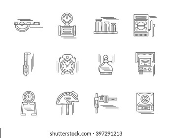 Measurement tools. Mechanical and electrical instruments. Metrology equipment. Set of flat black line vector icons. Elements for web design and mobile.