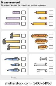 Measurement worksheet - Number the object from shortest to longest - Worksheet for education.