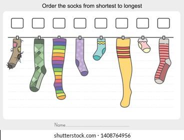 Measurement worksheet - Order the socks from shortest to longest. - Worksheet for education.