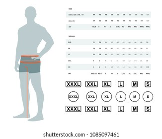 Measurements for clothing. Vector illustration of the dimensions of the male waist and hips. Size chart for men. Model template with international sizes can be used for male linen, clothes