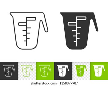 Measuring cup black linear and silhouette icons. Thin line sign of one liter. Glass outline pictogram isolated on white, transparent background. Vector Icon shape. Measuring Cup simple symbol closeup