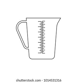 Measuring cup icon, isolated. Measuring cup with handle. Vector. Outline icon on white background. Flat style illustration.