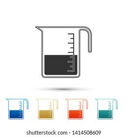 Measuring cup to measure dry and liquid food icon isolated on white background. Plastic graduated beaker with handle. Color set icons. Vector Illustration