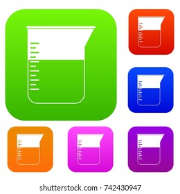 Measuring cup set icon color in flat style isolated on white. Collection sings vector illustration