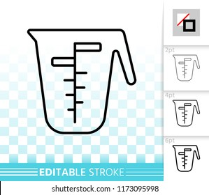 Measuring Cup thin line icon. Outline web sign of one liter. Glass linear pictogram with different stroke width. Simple vector transparent symbol. Measuring Cup editable stroke icon without fill