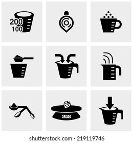 measuring cup vector icons set on gray