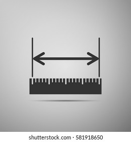 The measuring height and length icon. Ruler, straightedge, scale symbol on grey background. Adobe illustrator