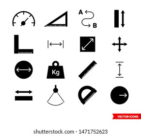 Measuring icons set of color types. Isolated vector sign symbols. Icon pack.