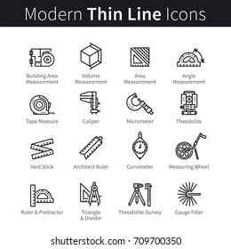 Measuring instrument for engineer, architect, builder, designer, constructor. Tool and measurement pictogram concept. Modern thin line art icons set. Linear style illustrations isolated on white.
