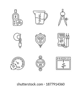Measuring instruments linear icons set. Radiation dosimeter. Measuring cup. Compass. Micrometer. Customizable thin line contour symbols. Isolated vector outline illustrations. Editable stroke