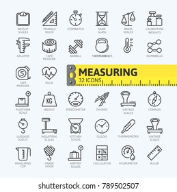 Measuring, measure elements - minimal thin line web icon set. Outline icons collection. Simple vector illustration.