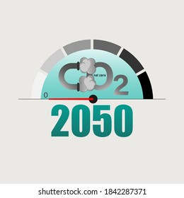 Measuring pointer display zero level as a gimmick of achieving net-zero CO2 emissions by 2050. Vector illustration outline flat design style.