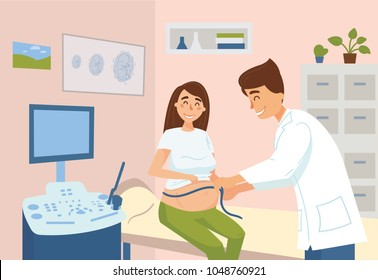 Measuring of pregnant woman in hospital. Gynecologist doctor examine female patient belly with measure tape near ultrasonic equipment in clinic. Image of child embryo on wall. Pregnancy consultation