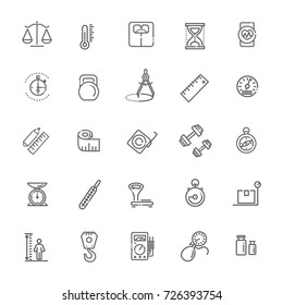 Measuring related web icon set - outline icon set, vector, thin line icons collection
