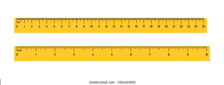 Measuring rulers scale vector illustration isolated on white background. Realistic design of colorful tool supplies. Measuring scale in centimeters, millimeters and inch