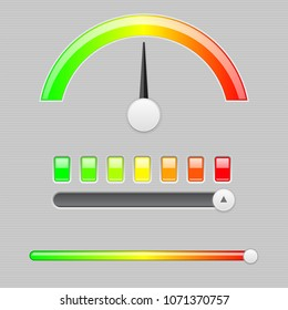 Measuring semi scale. Industrial indicator with slider. Vector 3d illustration