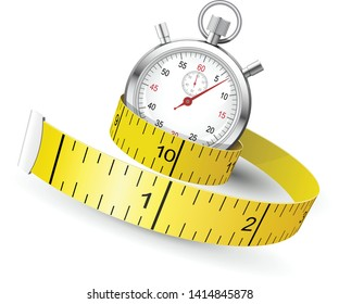 Measuring tape entwine stopwatch - diet and fitness concept