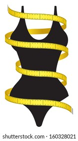Measuring tape and female figure as a conceptual diet icon.