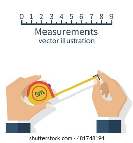 Measuring tape in the hands of the person making the measurements. Vector illustration flat design isolated on white background.