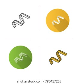 Measuring tape icon. Flat design, linear and color styles. Sewing meter. Isolated vector illustrations