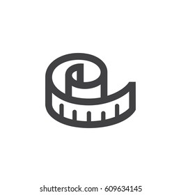 Measuring tape icon. meter vector illustration on white background