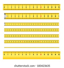 Measuring tape in mm for tool roulette, and ruler. Vector illustration isolated on white background. Several variants, proportional scaled.