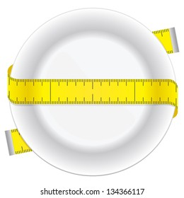 Measuring tape and plate as a conceptual diet icon.