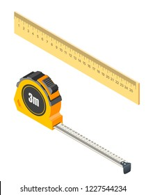 Measuring tape and ruler in isometric style on a white background. Measurement tools for construction and repair. Vector illustration of items
