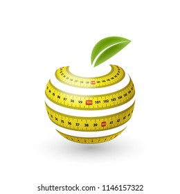 Measuring Tape in Shape of Apple with Green Leaf. Illustration of Diet Concept on White Background