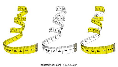 Measuring tape,diet theme. Theme for the studio, dressmaking. Vector illustration.