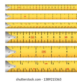 Measuring tapes. Measure inches tape measurement ruler, centimeter metric precision tool roulette length markings. Vector isolated tape measure set