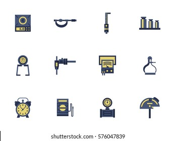 Measuring tools for engineering and metrology science. Collection of flat style vector icon