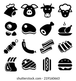 meat black icon set isolated, for restaurant and commerce