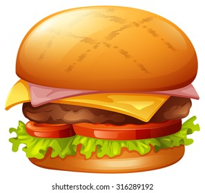Meat burger on white illustration