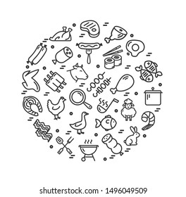 Meat Butchery Signs Round Design Template Thin Line Icon Concept for Marketing and Advertising on a White. Vector illustration