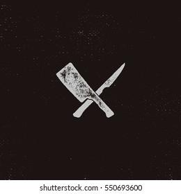 meat cleaver and knife symbols. Vintage steak house symbol. Letterpress effect with sunbursts. Vector design isolate on retro background.