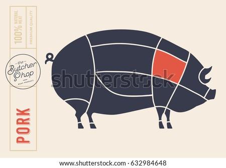 meat cuts diagrams butcher shop 450w 632984648 meat cuts diagrams butcher shop scheme stock vector (royalty free
