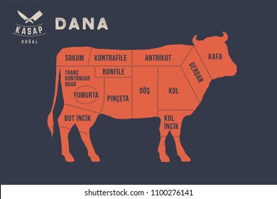 Meat cuts. Poster Butcher diagram and scheme - Dana, Beef, Cow. Typographic with the names of parts of meat in Turkish. Graphic design for butcher shop, restaurant poster, banner. Vector Illustration
