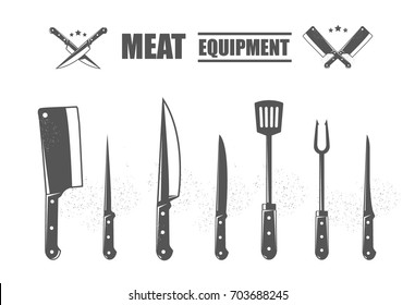 Meat cutting knives set. Meat equipment. Set of butcher meat knives for butcher shop and design butcher themes.
