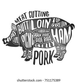 Meat cutting - pork. White chalkboard poster. Cut of pig meat set. Butcher diagram, scheme and guide - Pork. Vintage typographic handdrawn vector design.