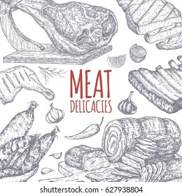 Meat delicacies tamplate based on hand drawn sketches of cold meats, sausages, grilled chicken and ribs, jamon. Great for market, restaurant, grill cafe, food label design.