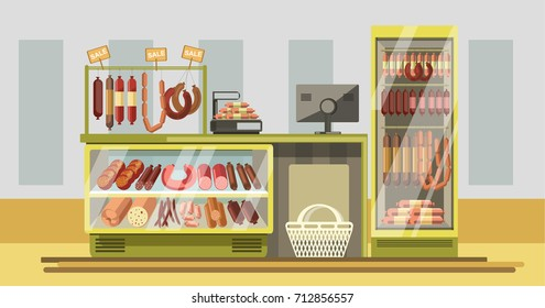 Meat department in supermarket with counter and fresh products