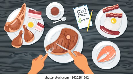 Meat diet plan web banner template. Weight loss meal, healthy eating. Animal products dishes on plates. Carnivore restaurant menu. Human hands cutting roasted beef steak. Fried fish and chicken