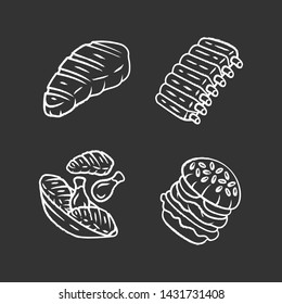 Meat dishes chalk icons set. Steak, beef ribs, chicken legs, burger. Fast food. Butcher shop product. Restaurant, grill bar, steakhouse menu. Isolated vector chalkboard illustrations