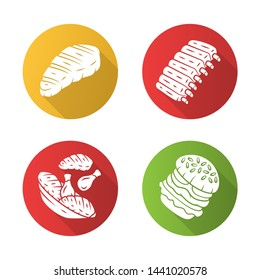 Meat dishes flat design long shadow glyph icons set. Steak, beef ribs, chicken legs, burger. Fast food. Butcher shop product. Restaurant, grill bar, steakhouse menu. Vector silhouette illustration