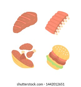Meat dishes flat design long shadow color icons set. Steak, beef ribs, chicken legs, burger. Fast food. Butcher shop product. Restaurant, grill bar, steakhouse menu.Vector silhouette illustrations