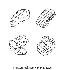 Meat dishes linear icons set. Steak, beef ribs, chicken legs, burger. Butcher shop product. Steakhouse menu. Thin line contour symbols. Isolated vector outline illustrations. Editable stroke