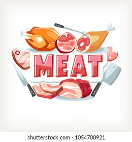 Meat emblem lettering text message beef chicken pork