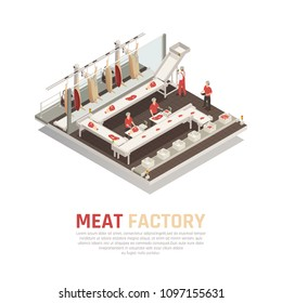 Meat factory isometric composition with processing line from carcass cutting to weighing and filling boxes vector illustration